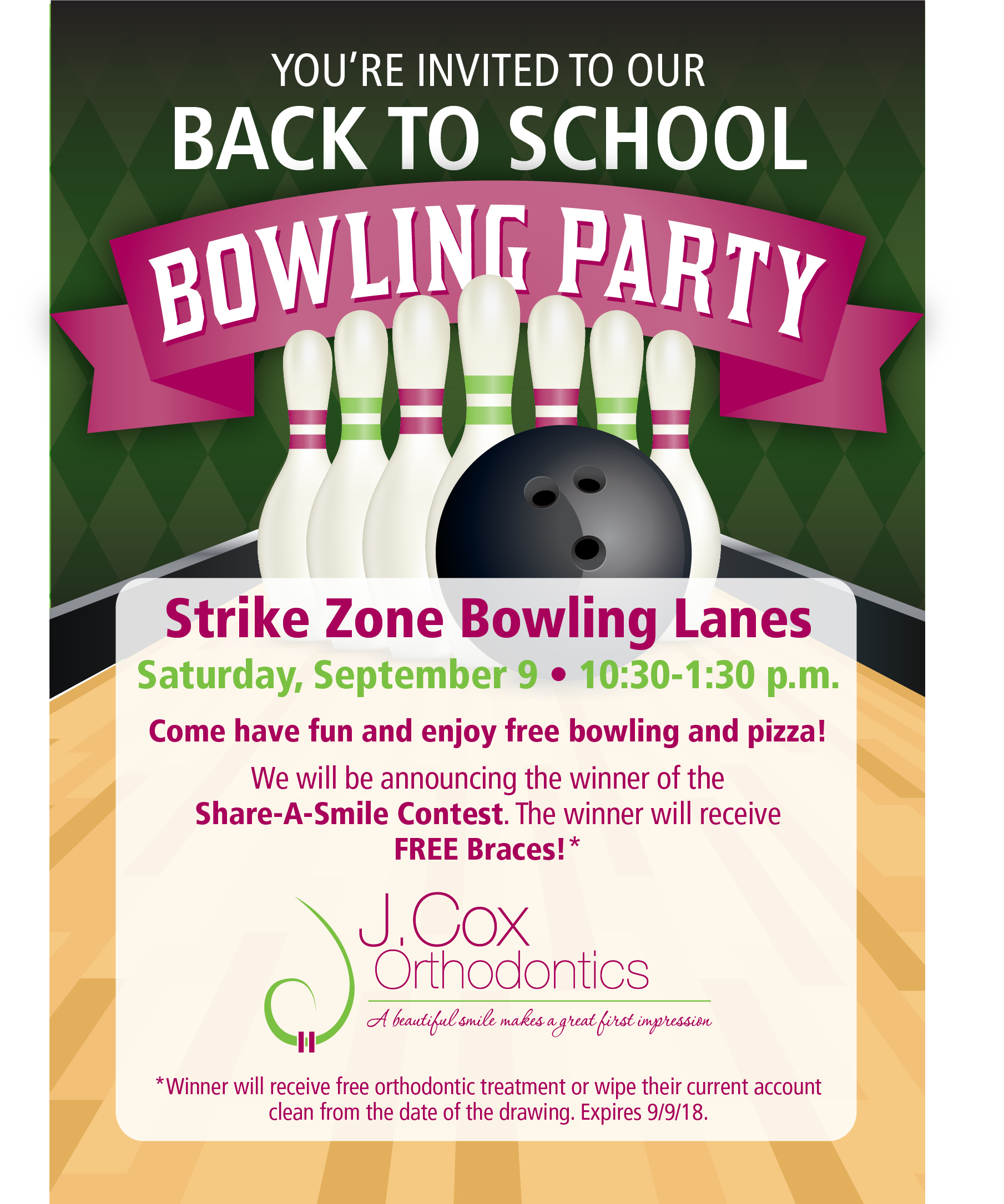 BACK TO SCHOOL BOWLING PARTY - J  Cox Orthodontics » J  Cox